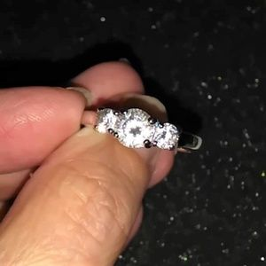 Three stone CZ stainless steel ring